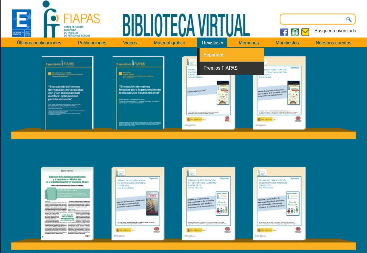 Imagen de la sección de los Premios FIAPAS de la Biblioteca Virtual de la entidad en la que se pueden ver las portadas de los ocho últimos trabajos premiados o finallistas