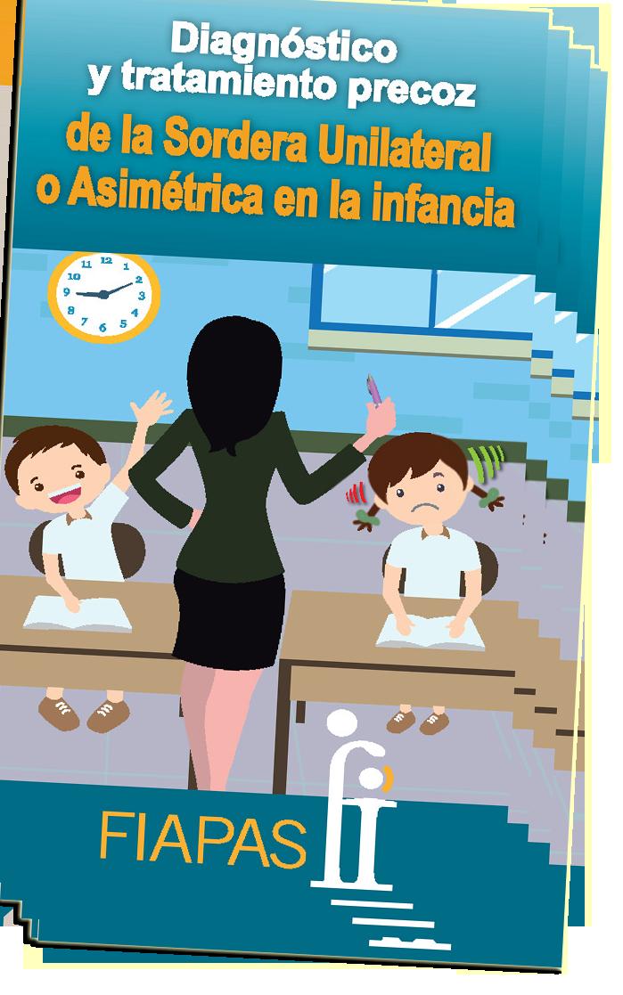 Imagen de la portada del Folleto CODEPEH 2017 en el que se ve a una profesora de espaladas en un aula en el que hay dos niños, uno de ellos oye bien y el otro no oye por uno de los oidos.