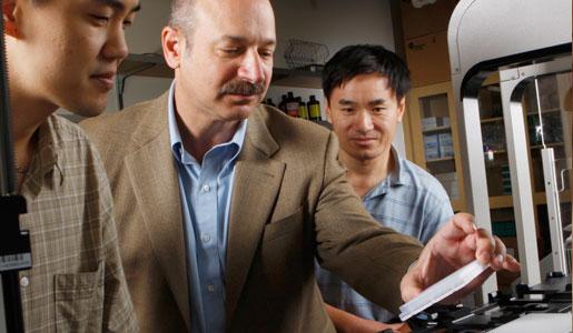 Bruce Beutler (en el centro) trabajando en su laboratorio de investigación.
