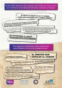 Imagen de la campaña medios de comunicación y cáncer
