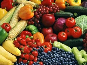 bodegón de frutas y verduras