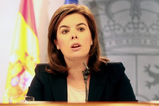 La vicepresidenta, ministra de la Presidencia y Portavoz, Soraya Sáenz de Santamaría durante la rueda de prensa posterior al Consejo de Ministros.